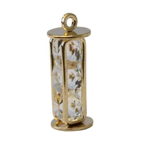 133 Подвеска декоративная с кристаллами прямоугольная, 2шт/упак (золото) фото