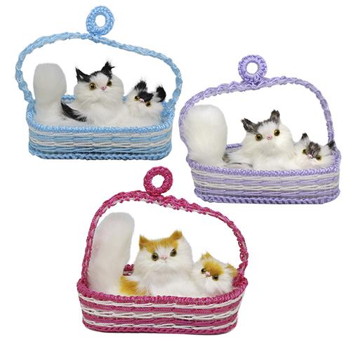Игрушка. Кошка с котенком в корзинке, 8*14 см