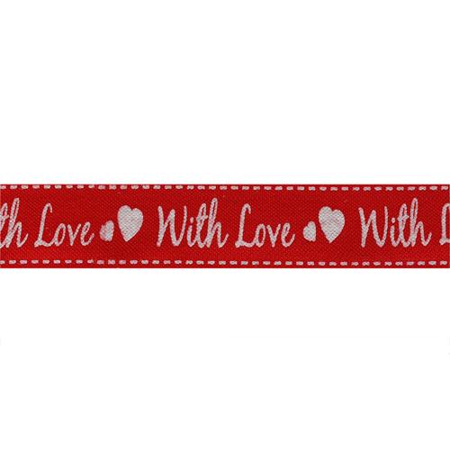 CP093 Лента декоративная 'С любовью' 100% хб, 15мм*25м