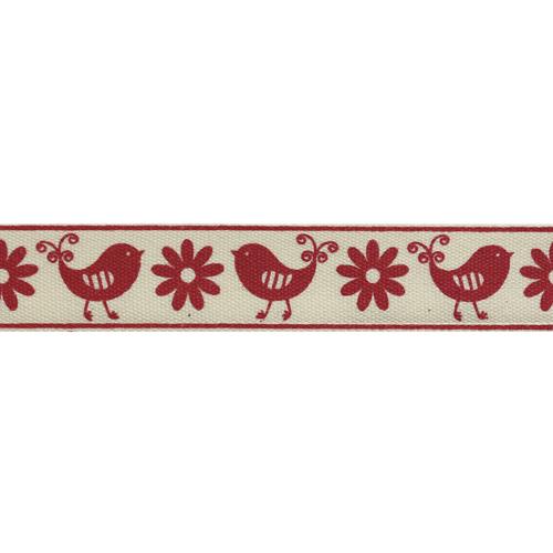 CP337 Лента декоративная 'Птицы' 100% хб, 15мм*25м