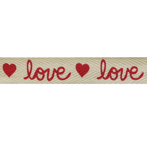CP074 Лента киперная 'Любовь' 100% хб, 15мм*25м