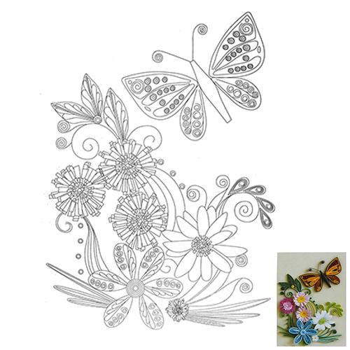 23 Схема для квиллинга 'Цветы и бабочка'