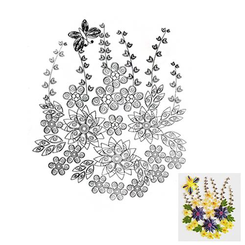 16 Схема для квиллинга 'Желто-фиолетовые цветы'