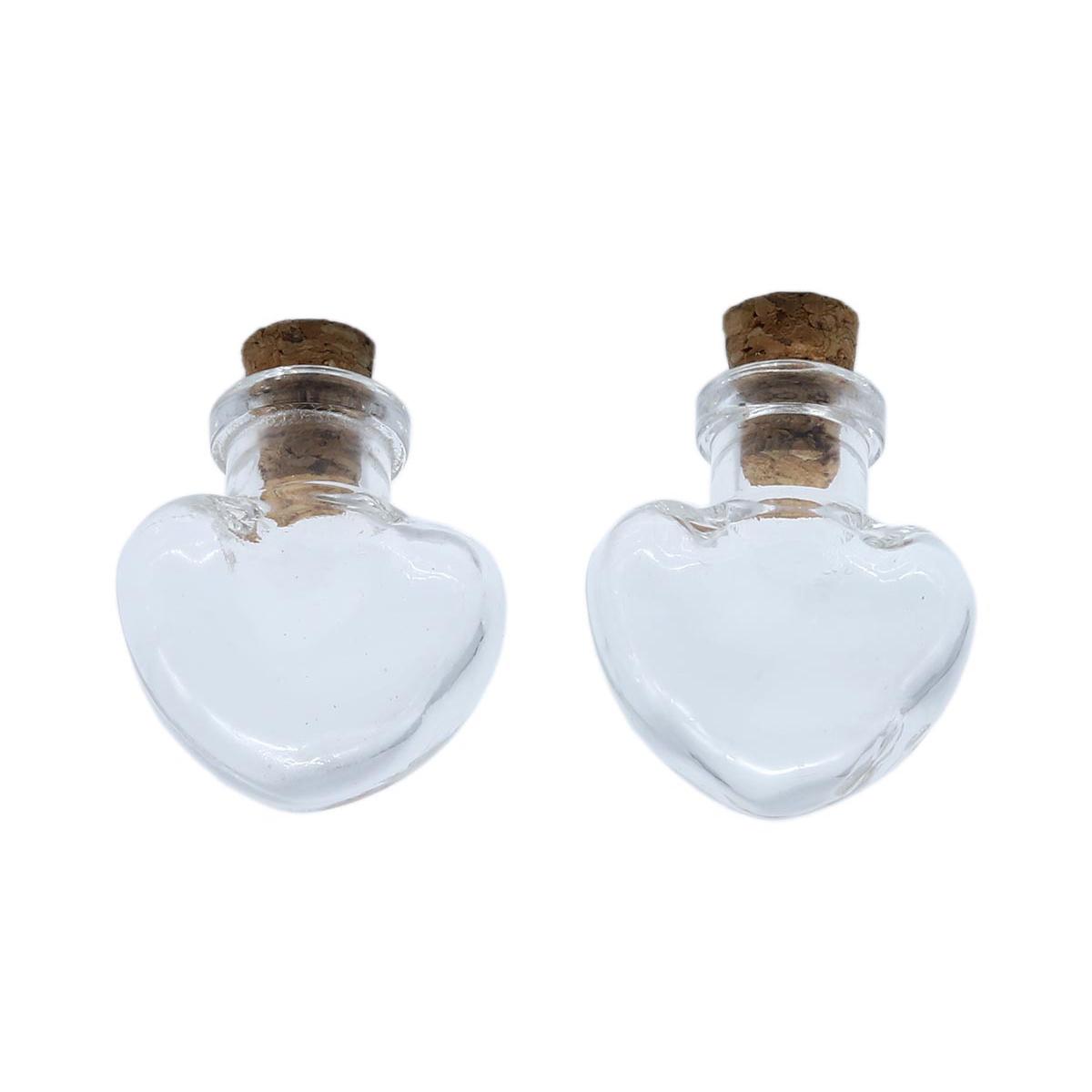 Стеклянная бутылочка с пробкой 'Сердце', 5шт/упак