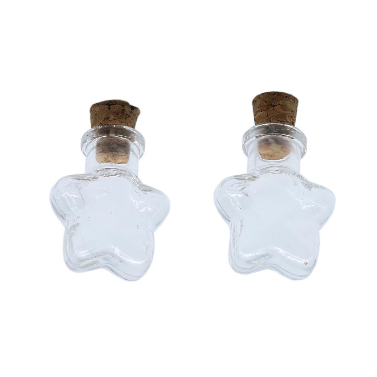 Стеклянная бутылочка с пробкой 'Звезда', 5шт/упак фото