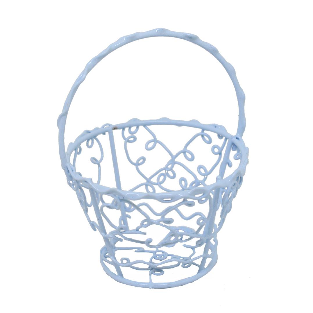Корзинка витая металлическая круглая, 9*7см (голубой)