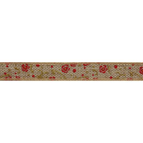Декоративная лента 20мм*18,29м (джут) 'Цветы'