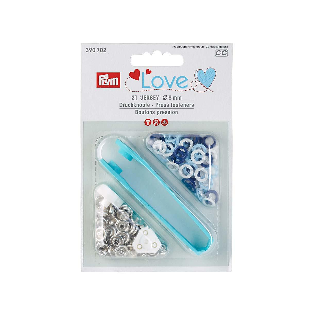390702 Кнопки Джерси, син/бел/голубой цв, 8мм, 21шт/упак, Prym