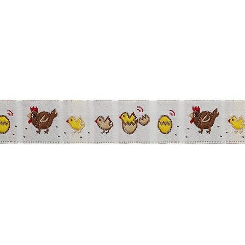 16498 Тесьма жаккардовая 'Курица с цыплятами' 16мм*10м