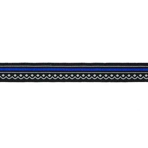 12983 Тесьма жаккардовая 12мм*10м черн/голубой