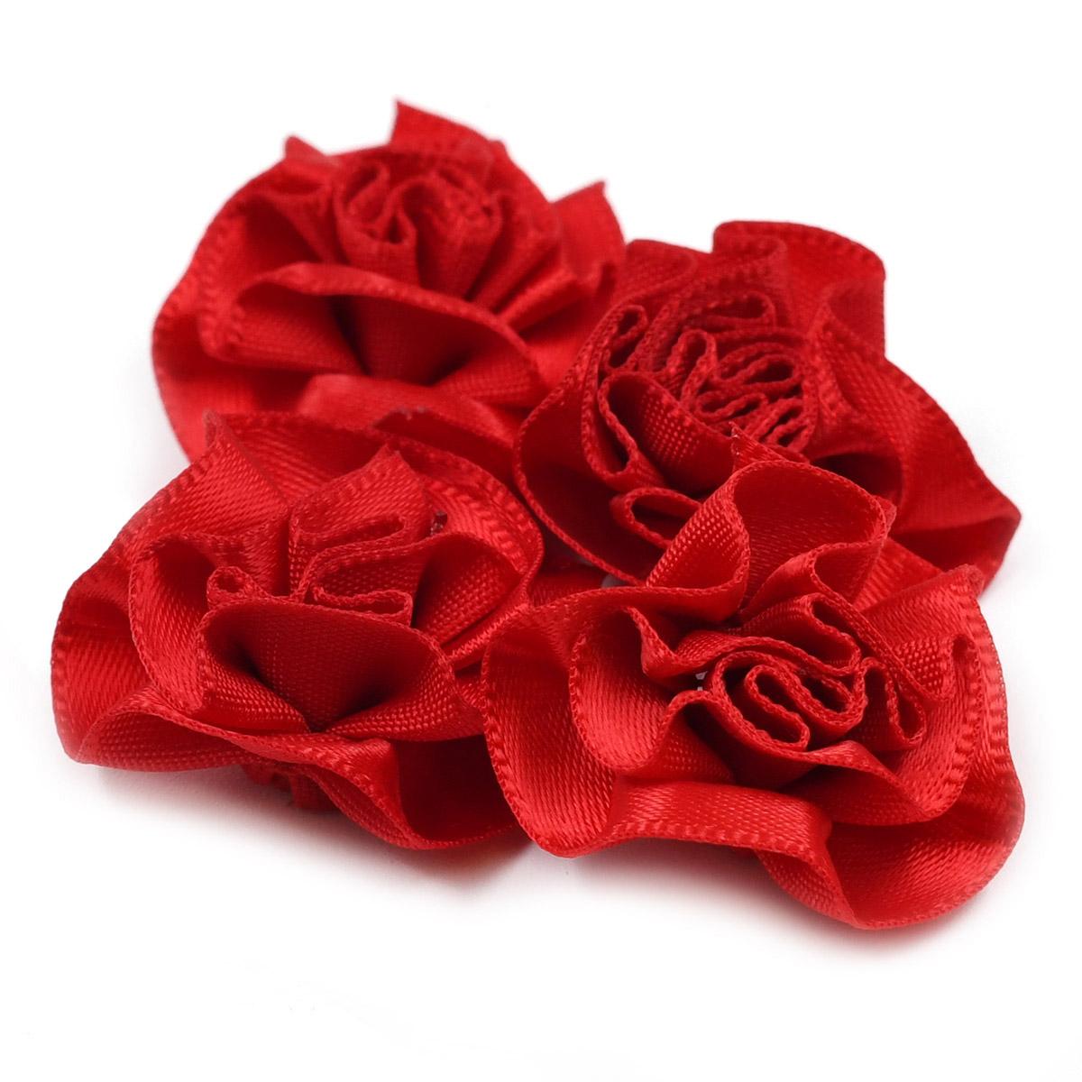 JY100028 Цветы текстильные декоративные, 2,5см. 4шт.