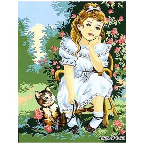 MRC1333-335 Канва с рисунком MARGOT 'Девочка с котенком' 50*65 см