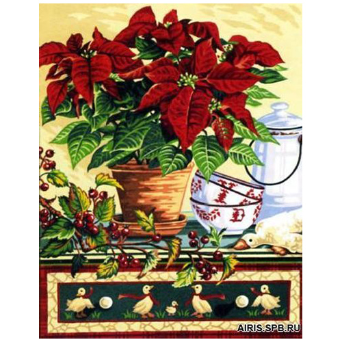 MRC1333-462 Канва с рисунком MARGOT 'Пуансетия' 50*65 см