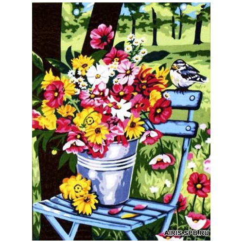 MRC1333-491 Канва с рисунком MARGOT 'Цветы в ведре' 50*65 см