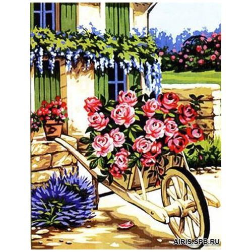 MRC1333-493 Канва с рисунком MARGOT 'Розы в телеге' 50*65 см