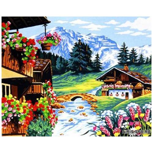 MRC1345-158 Канва с рисунком MARGOT 'Домик в горах' 60*70 см