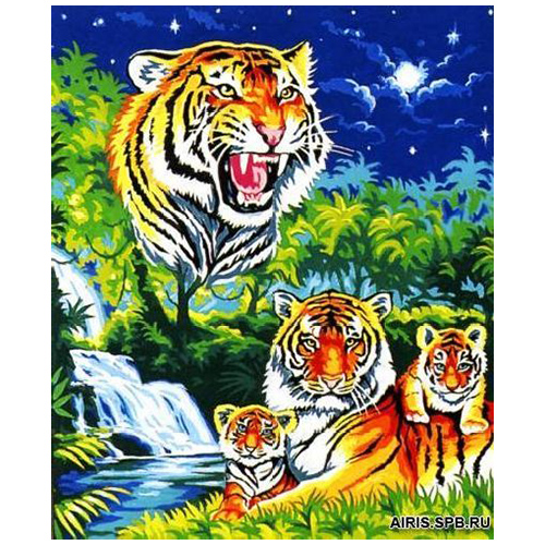 MRC1345-161 Канва с рисунком MARGOT 'Тигры' 60*70 см