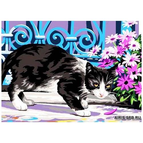 MRC722-317 Канва с рисунком MARGOT 'Котенок в цветах' 30*40 см