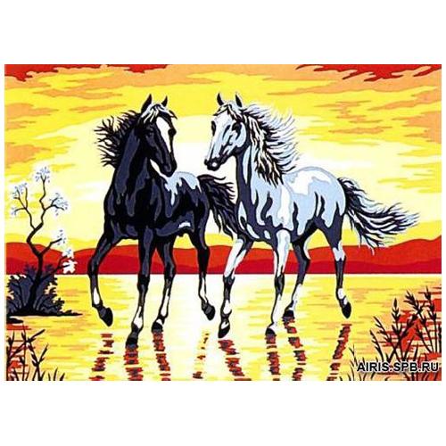 MRC1531-168 Канва с рисунком MARGOT 'Пара лошадей' 40*50 см