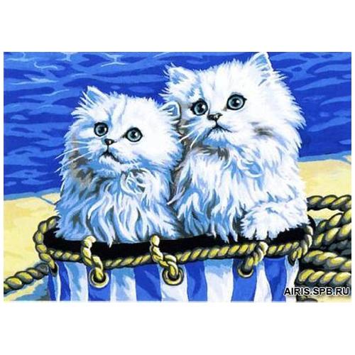MRC1531-337 Канва с рисунком MARGOT 'Белые котята' 40*50 см