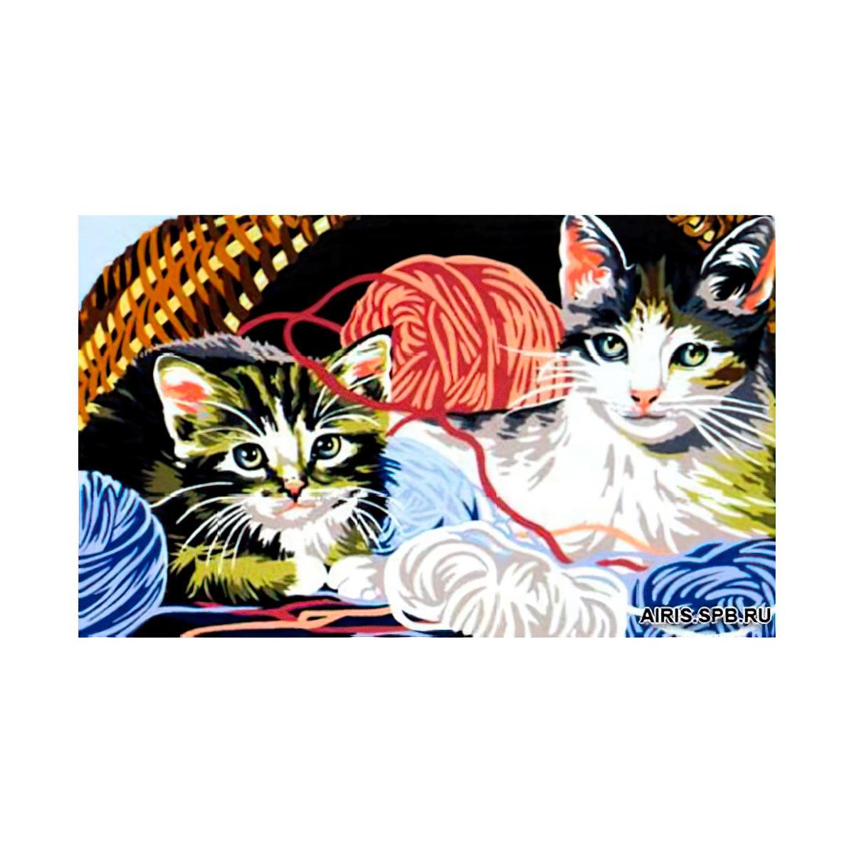 MRC1531-365 Канва с рисунком MARGOT 'Котята с клубком' 40*50 см
