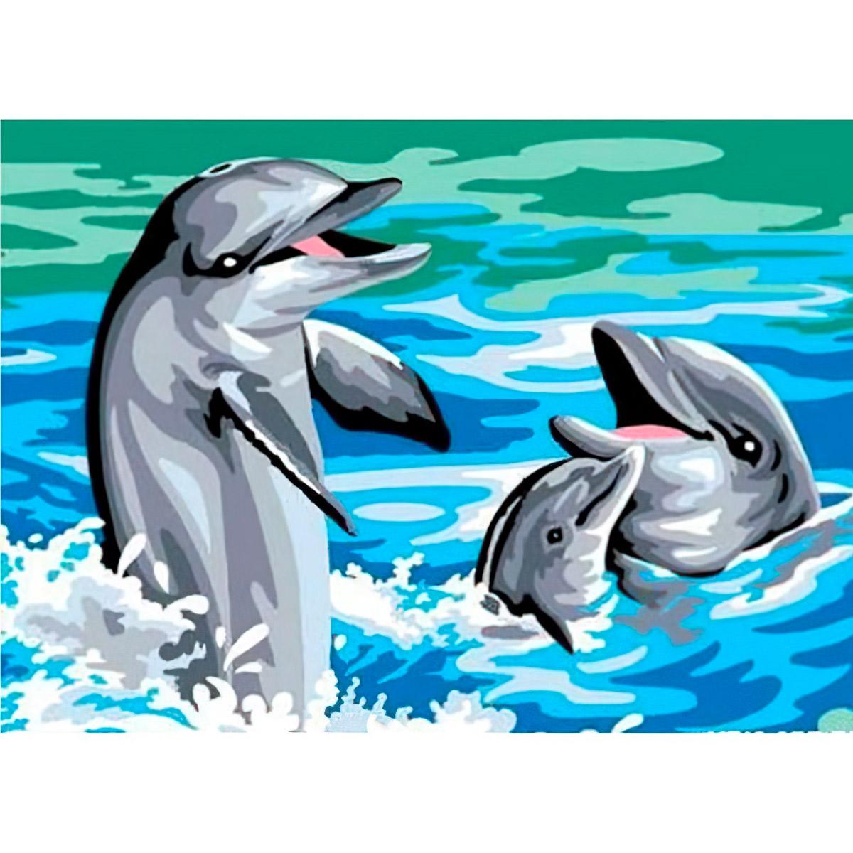 MRC1531-402 Канва с рисунком MARGOT 'Дельфины' 40*50 см