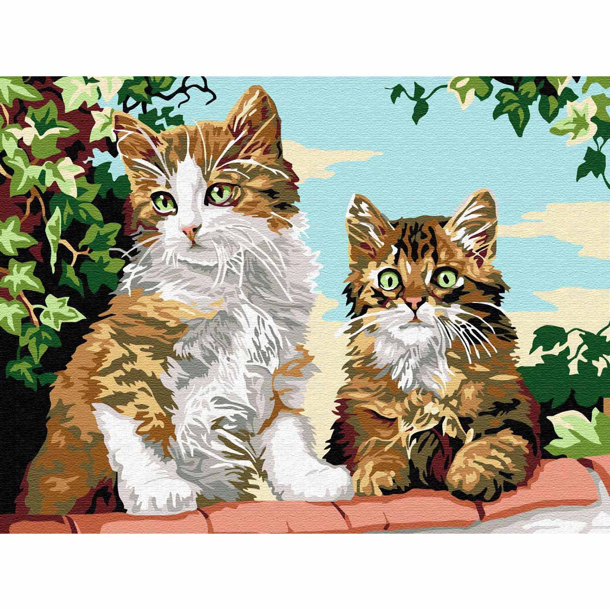 SE926-199 Канва с рисунком SEG de Paris 'Котята на стене' 40*50 см