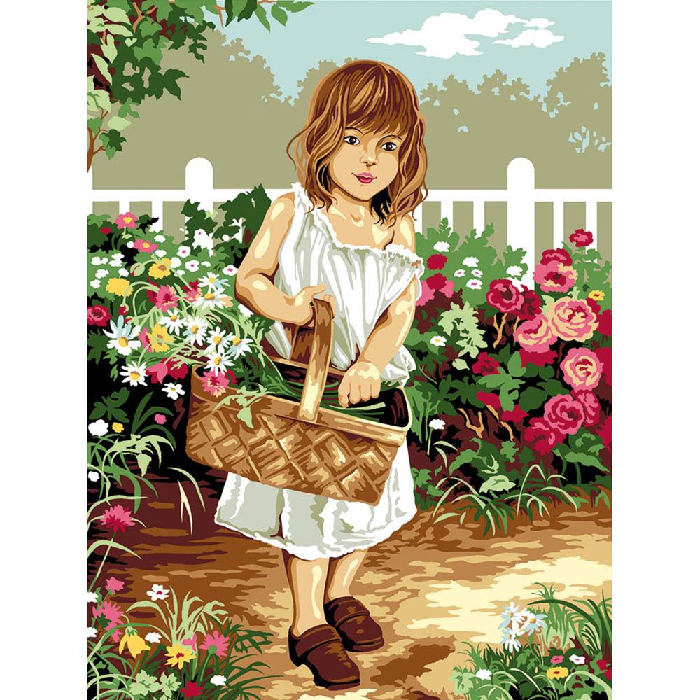SE926-225 Канва с рисунком SEG de Paris 'Девочка в парке' 40*50 см