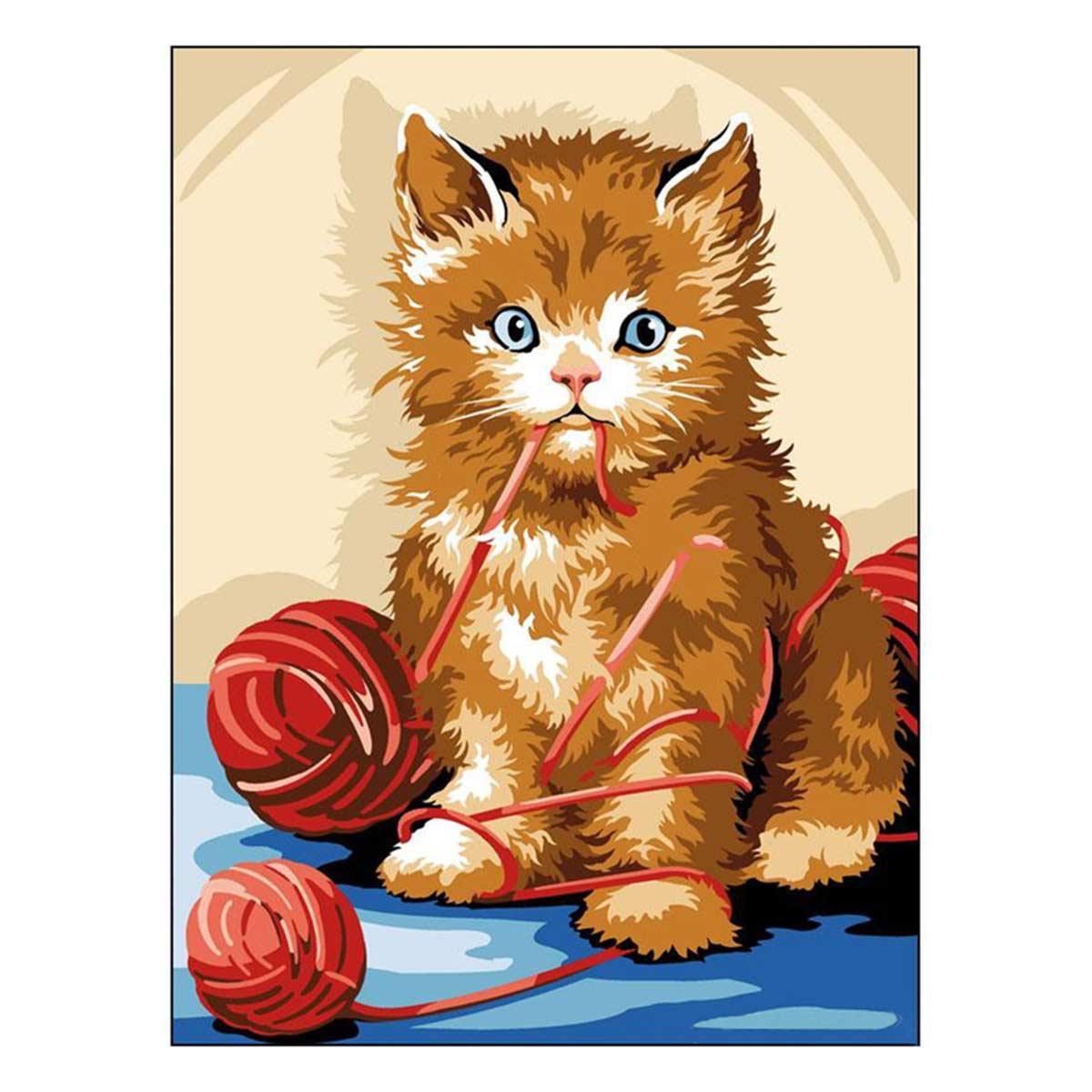 SE926-240 Канва с рисунком SEG de Paris 'Игривый кот' 40*50 см