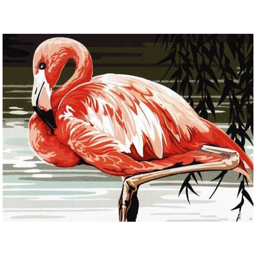 SE926-247 Канва с рисунком SEG de Paris 'Розовый фламинго' 40*50 см
