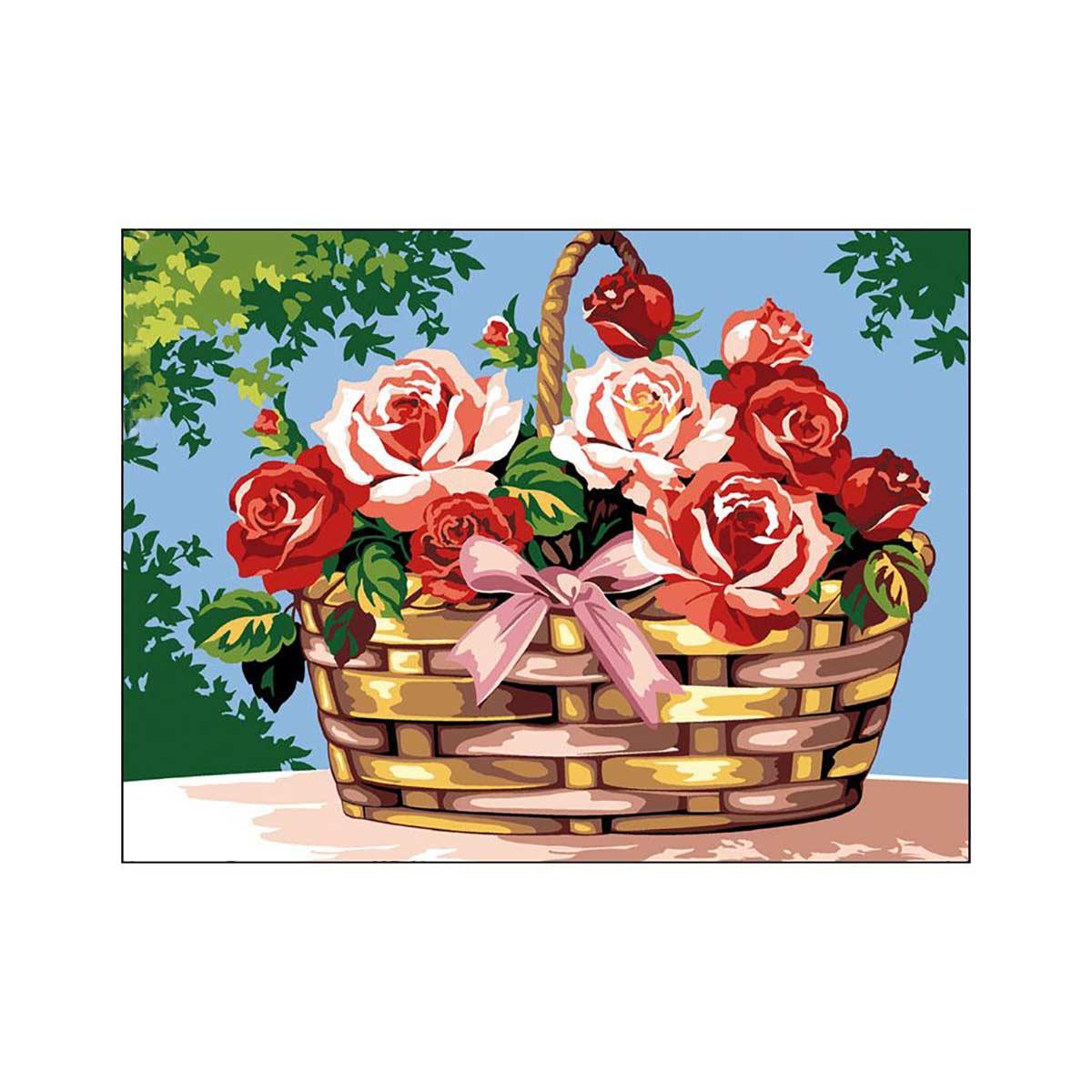 SE926-261 Канва с рисунком SEG de Paris 'Корзина роз' 40*50 см