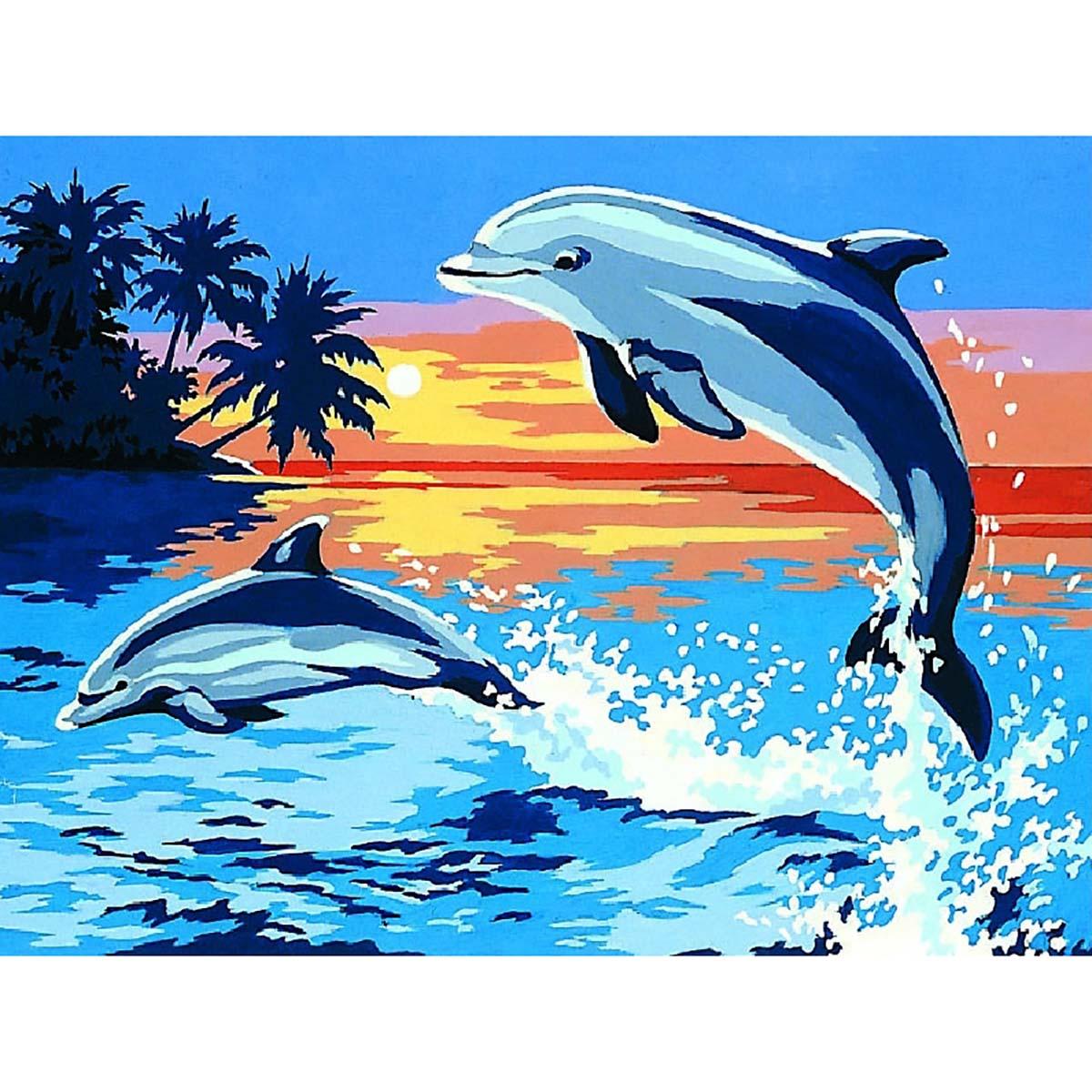SE926-87 Канва с рисунком SEG de Paris 'Дельфиньи игры' 40*50 см