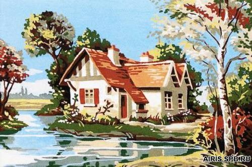 SE928-101 Канва с рисунком SEG de Paris 'Дом у реки' 30*40 см