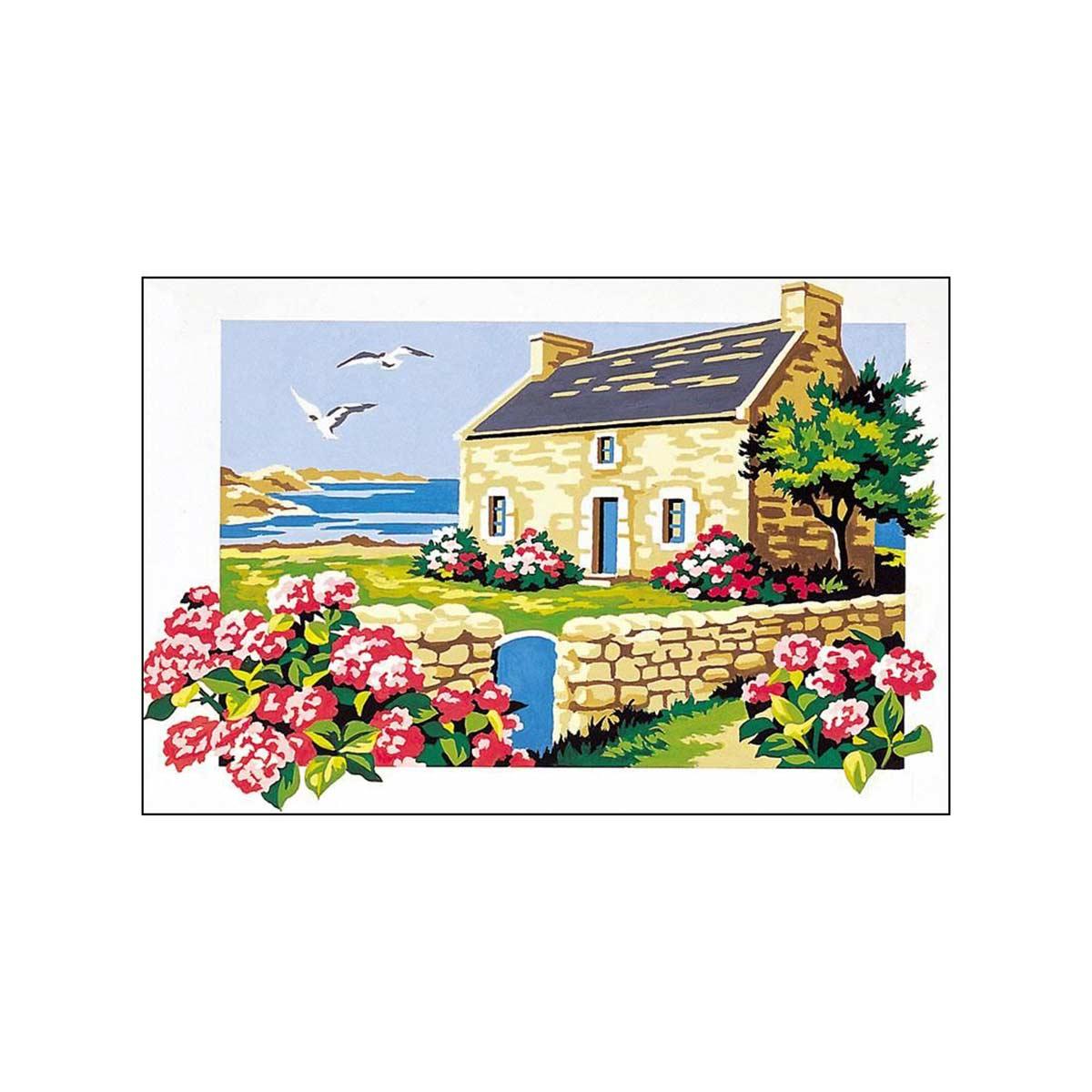 SE928-197 Канва с рисунком SEG de Paris 'Домик у моря' 30*40 см