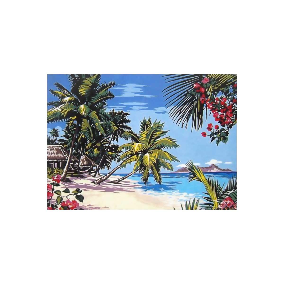 SE929-277 Канва с рисунком SEG de Paris 'Тропический остров' 45*60 см