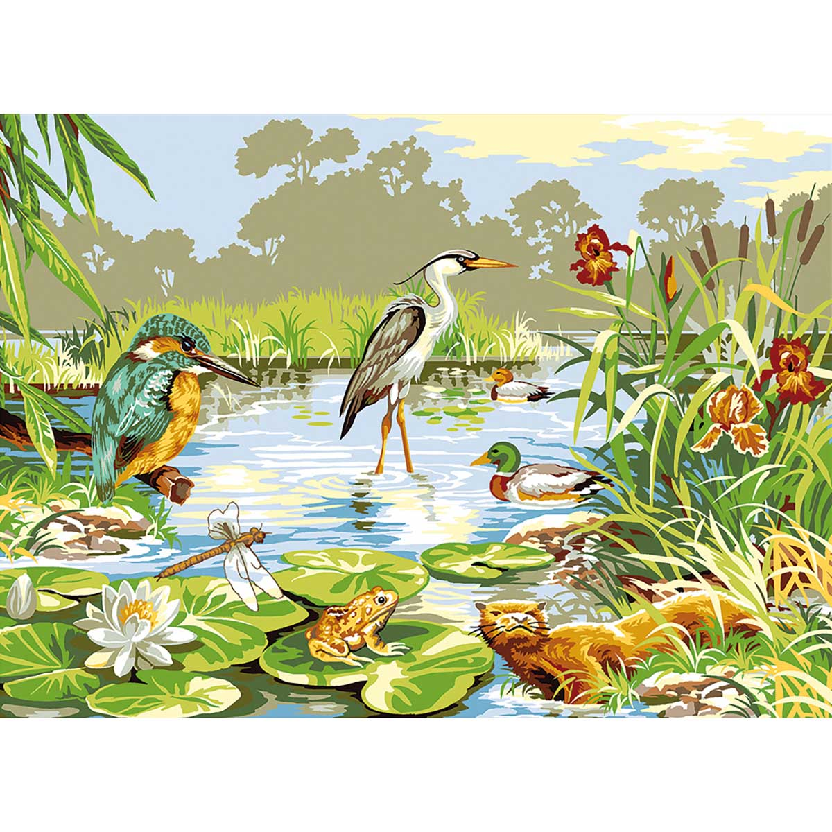 SE929-408 Канва с рисунком SEG de Paris 'На болоте' 45*60 см