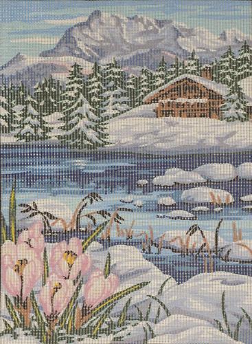 MRC722-242 Канва с рисунком MARGOT 'Весна в горах' 30*40 см