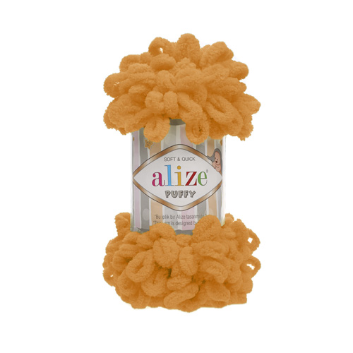 Пряжа Alize 'Puffy' 100г 9,2м (100% микрополиэстер) (336 оранжевый) фото