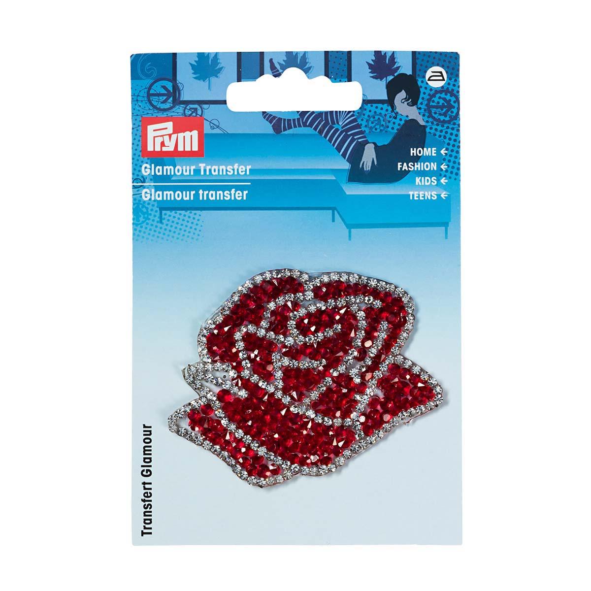 926665 Аппликация 'Роза' красный/серебряный цв. 1шт Prym