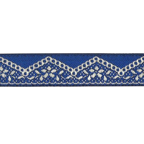 16710 Тесьма жаккардовая 16мм*10м, цв. синий/серебро