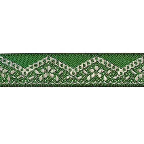 16710 Тесьма жаккардовая 16мм*10м, цв. зеленый/серебро