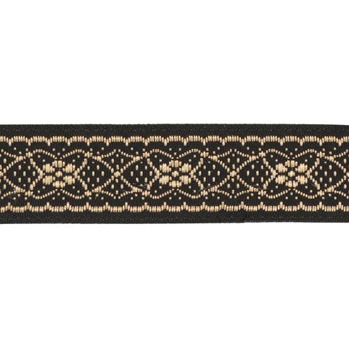 16712 Тесьма жаккардовая 16мм*10м, черн/розовое золото