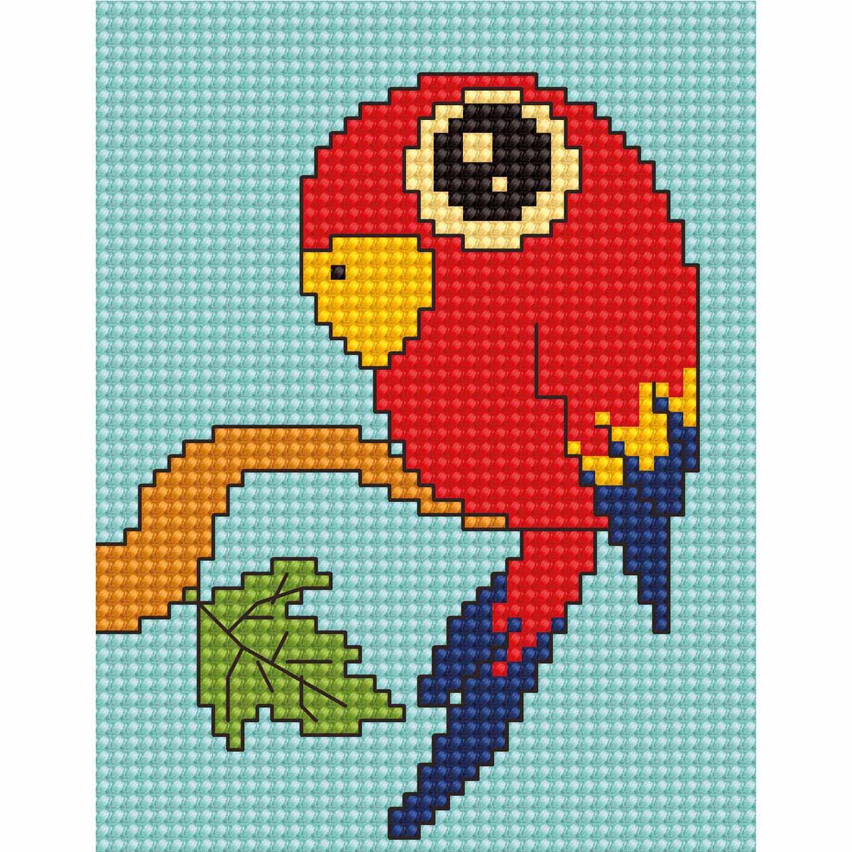 B083 Набор для вышивания Luca-S 'Моя первая вышивка. Попугай' 8*10,5см