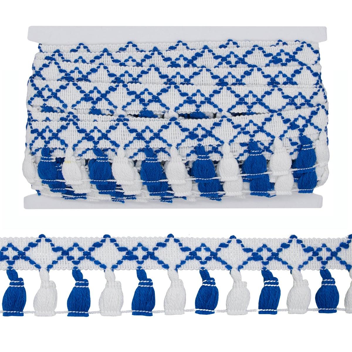 LS-037 Тесьма с кистями 48мм*9,14 м, цв. бел/синий