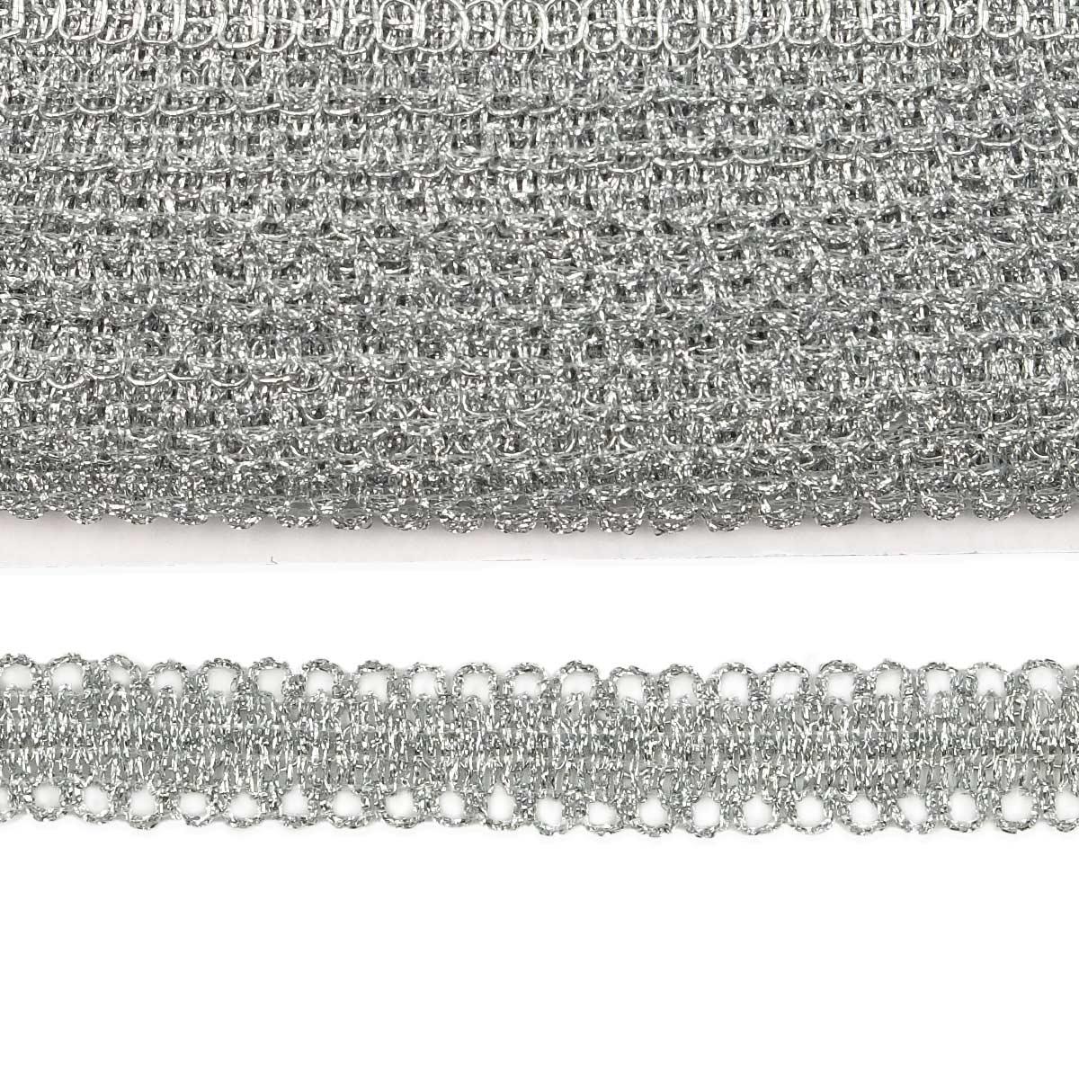 0384-1020 Тесьма металлизированная 20мм*18,29м (серебро) фото