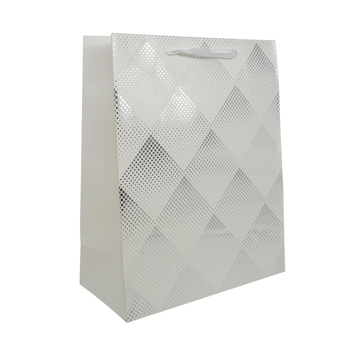 BK958 Пакет подарочный ламинированный, 32*26*12см (D белый)