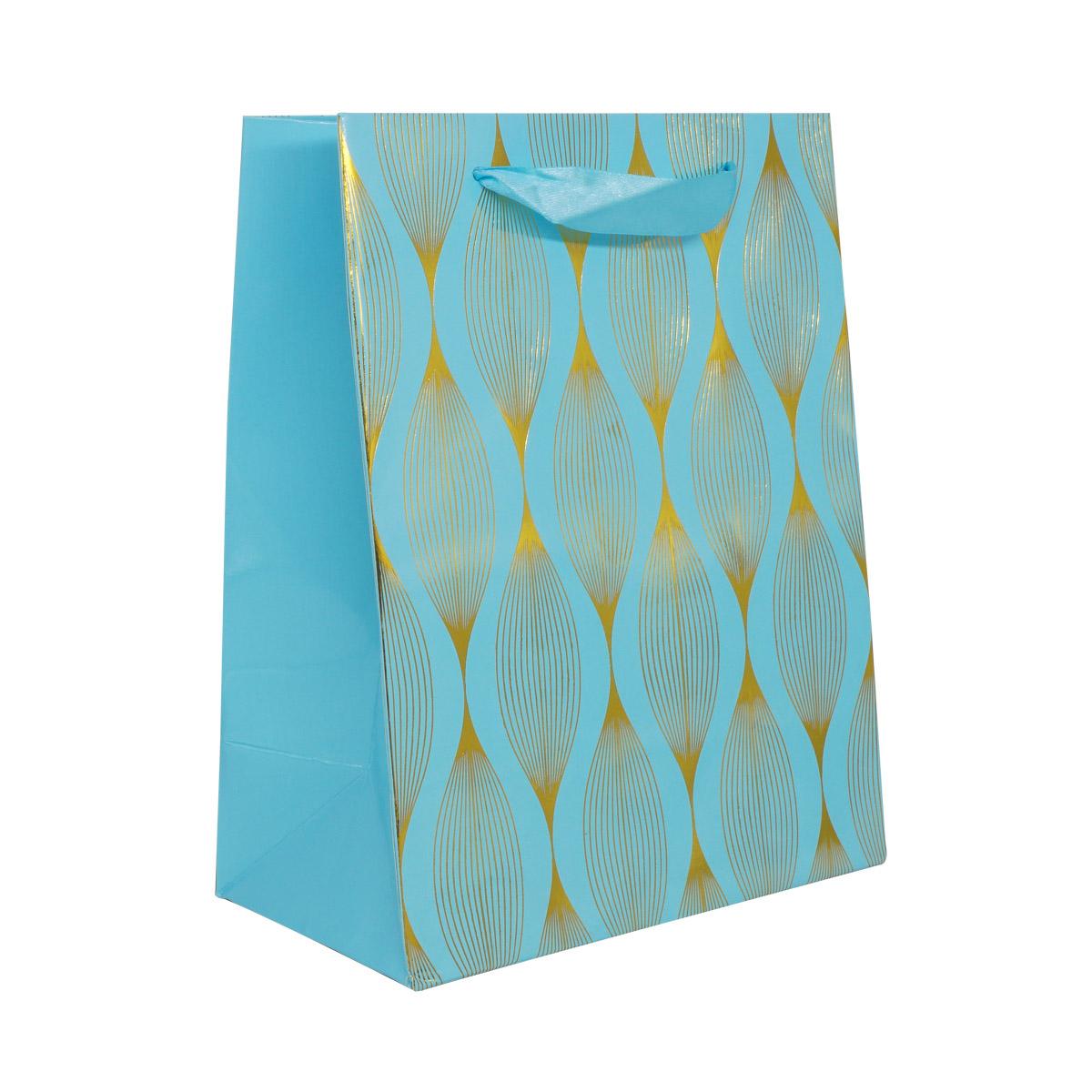 BK991 Пакет подарочный ламинированный, 23*18*10см (D голубой)