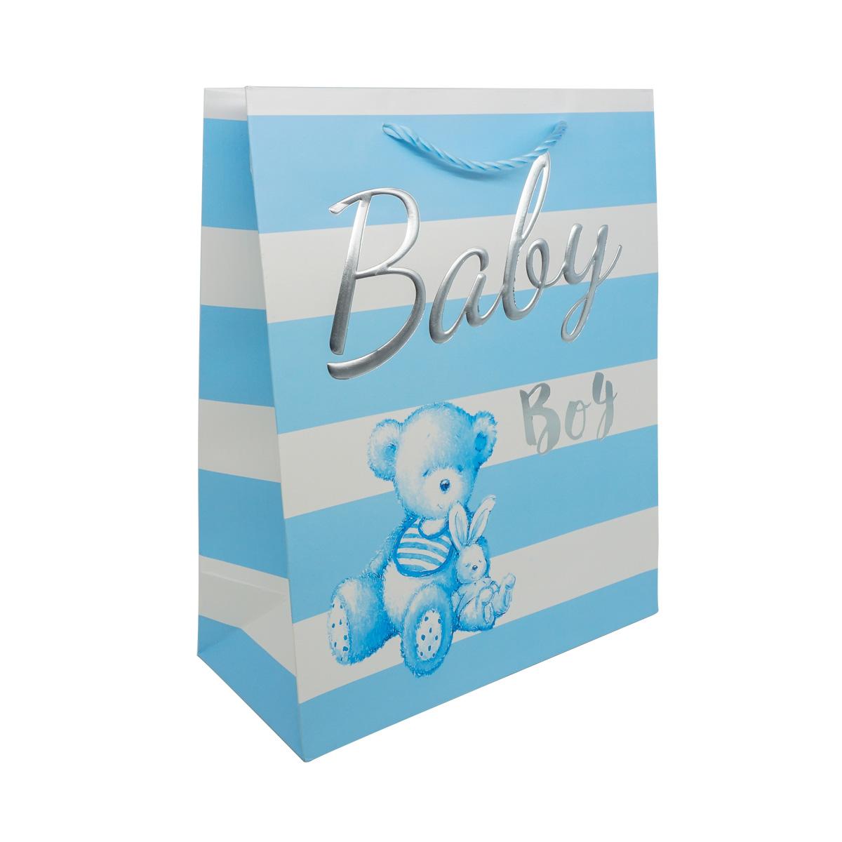 YR050 Пакет подарочный ламинированный 'Baby', 32*26*12см (B-голубой) фото