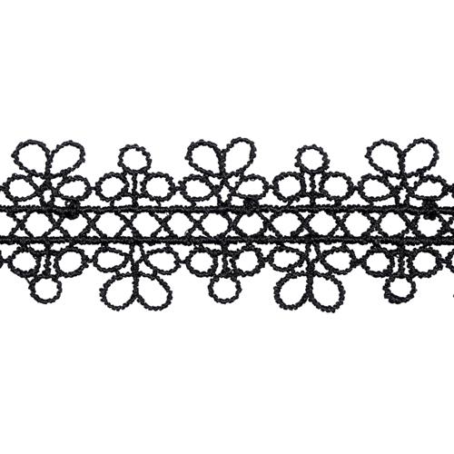 1AS-063 Кружево гипюр 2,5см*13,72м (черный) фото