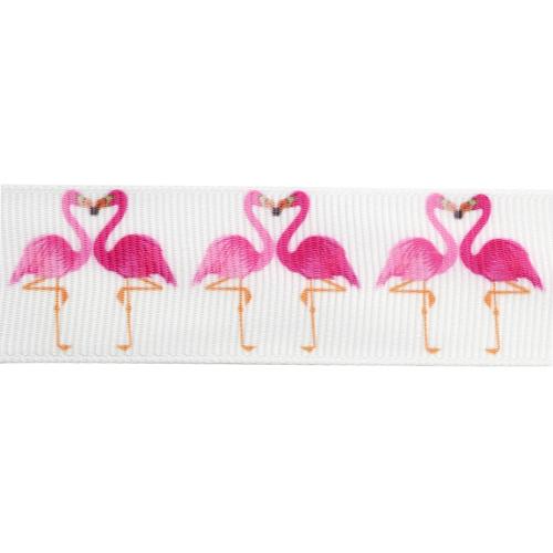 1AS-080 Лента репсовая 'Фламинго' 2,5см*22,86м